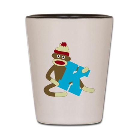Sock Monkey Monogram Boy K Shot Glass