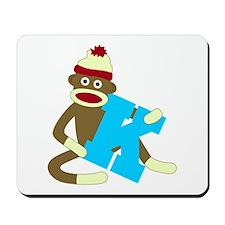 Sock Monkey Monogram Boy K Mousepad