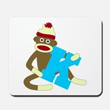 Sock Monkey Monogram Boy K Mousepad