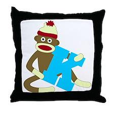 Sock Monkey Monogram Boy K Throw Pillow