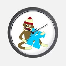 Sock Monkey Monogram Boy K Wall Clock