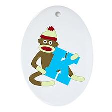 Sock Monkey Monogram Boy K Ornament (Oval)
