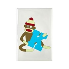 Sock Monkey Monogram Boy K Rectangle Magnet