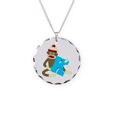 Sock Monkey Monogram Boy K Necklace