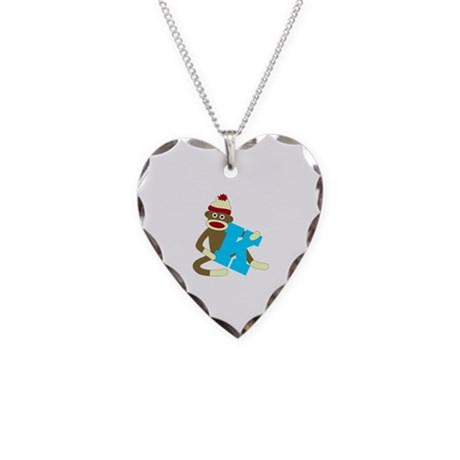 Sock Monkey Monogram Boy K Necklace Heart Charm