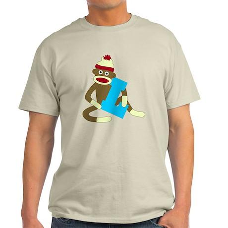 Sock Monkey Monogram Boy L Light T-Shirt