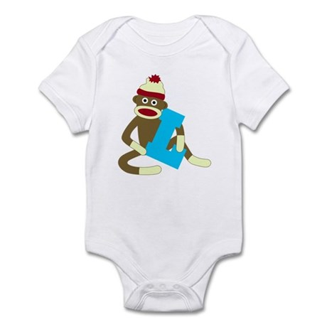 Sock Monkey Monogram Boy L Infant Bodysuit