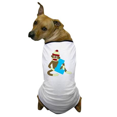 Sock Monkey Monogram Boy L Dog T-Shirt