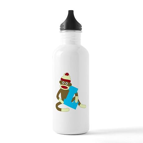 Sock Monkey Monogram Boy L Stainless Water Bottle