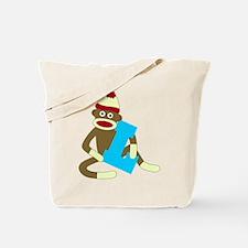 Sock Monkey Monogram Boy L Tote Bag