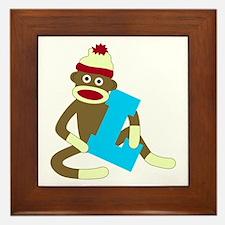 Sock Monkey Monogram Boy L Framed Tile