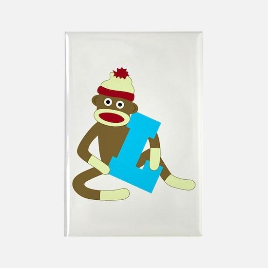 Sock Monkey Monogram Boy L Rectangle Magnet