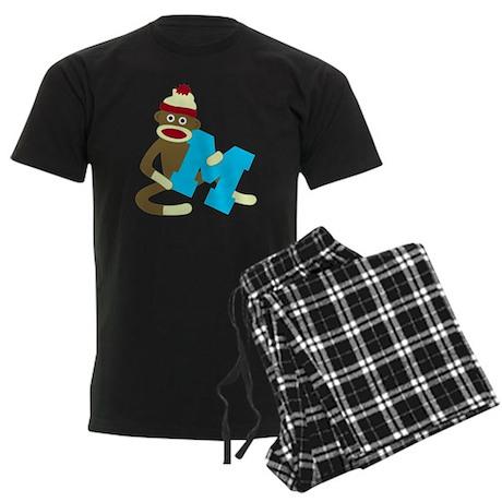 Sock Monkey Monogram Boy M Men's Dark Pajamas