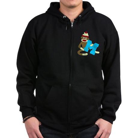 Sock Monkey Monogram Boy M Zip Hoodie (dark)