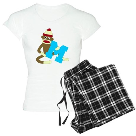 Sock Monkey Monogram Boy M Women's Light Pajamas
