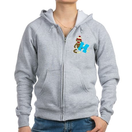 Sock Monkey Monogram Boy M Women's Zip Hoodie