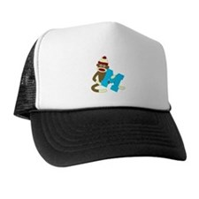 Sock Monkey Monogram Boy M Trucker Hat