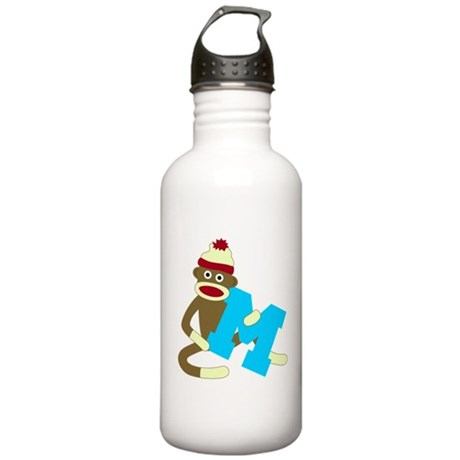 Sock Monkey Monogram Boy M Stainless Water Bottle