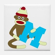 Sock Monkey Monogram Boy M Tile Coaster