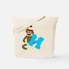 Sock Monkey Monogram Boy M Tote Bag