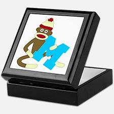 Sock Monkey Monogram Boy M Keepsake Box