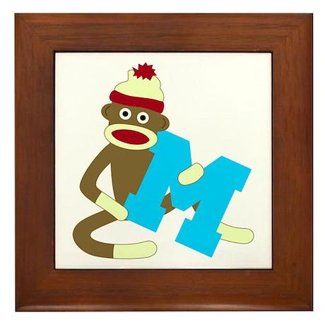 Sock Monkey Monogram Boy M Framed Tile