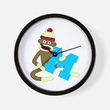 Sock Monkey Monogram Boy M Wall Clock