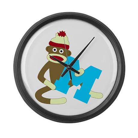 Sock Monkey Monogram Boy M Large Wall Clock
