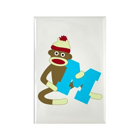 Sock Monkey Monogram Boy M Rectangle Magnet