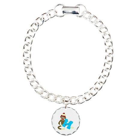 Sock Monkey Monogram Boy M Charm Bracelet