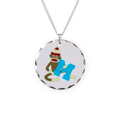 Sock Monkey Monogram Boy M Necklace Circle Charm