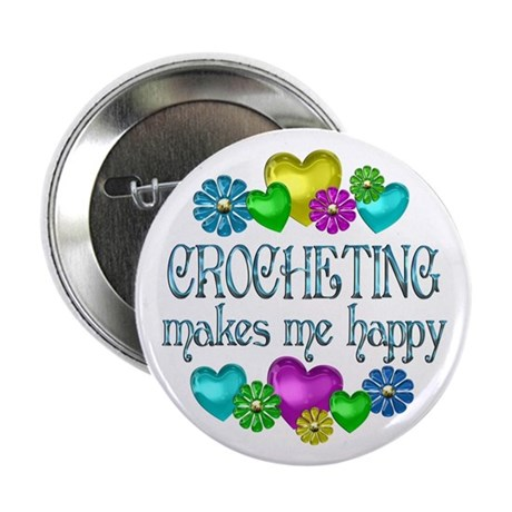 """Crocheting Happiness 2.25"""" Button"""