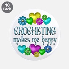 """Crocheting Happiness 3.5"""" Button (10 pack)"""