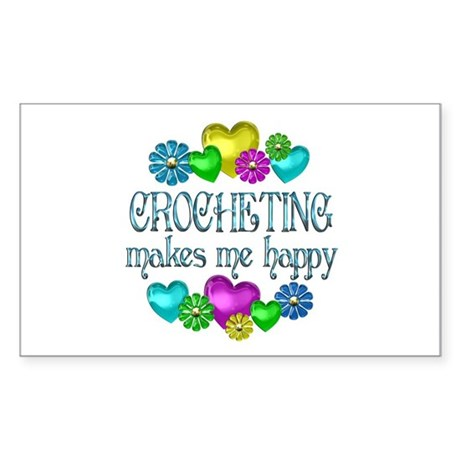 Crocheting Happiness Sticker (Rectangle)