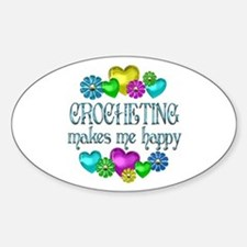 Crocheting Happiness Sticker (Oval)