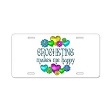 Crocheting Happiness Aluminum License Plate