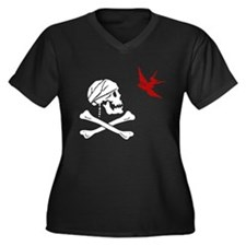 Cute Caribbean pirate Women's Plus Size V-Neck Dark T-Shirt