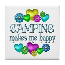 Camping Happiness Tile Coaster