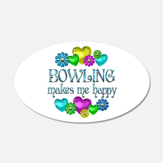 Bowling Happiness 22x14 Oval Wall Peel