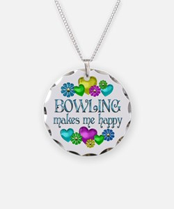 Bowling Happiness Necklace Circle Charm