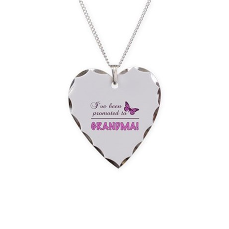 Promoted To Grandma Necklace Heart Charm
