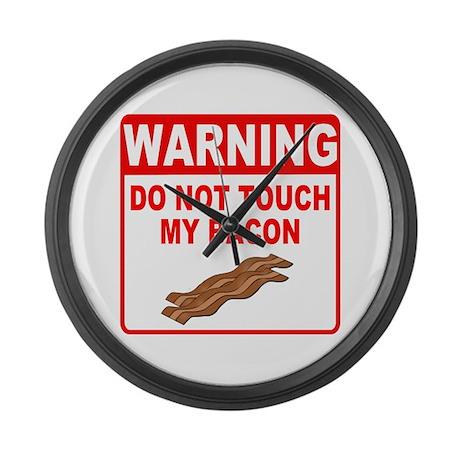 Bacon Warning Sign Large Wall Clock