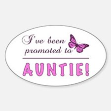 Promoted To Auntie Sticker (Oval)