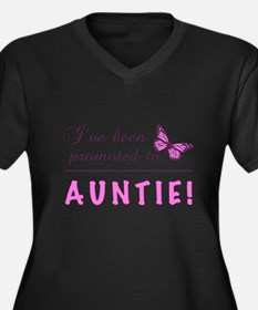 Promoted To Auntie Women's Plus Size V-Neck Dark T
