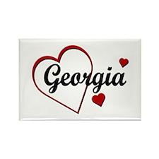 Love Georgia Hearts Rectangle Magnet (10 pack)