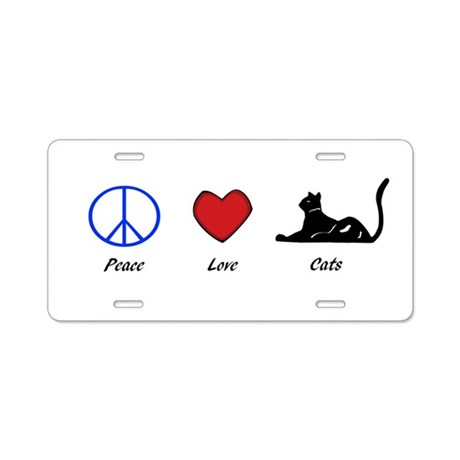 Peace, Love, Cats Aluminum License Plate