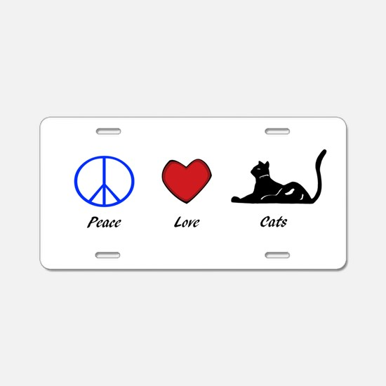 Peace, Love, Cats Aluminum License Plate