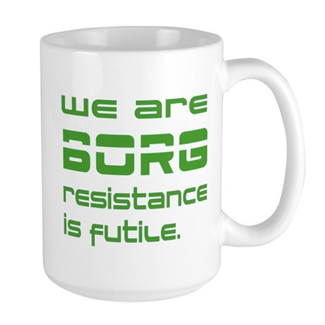Star Trek - We are BORG green Large Mug