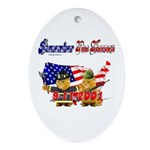 Remember the Heroes Firemand  Oval Ornament