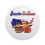 Remember the Heroes Firemand  Ornament (Round)